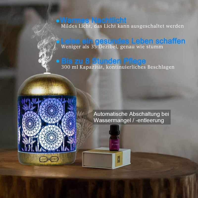 Metal Aromatherapy Machines 300ml Essential Oils Diffuser Air Humidifier 7 Colors Night Light Auto Shut Off Timer Office Bedroom