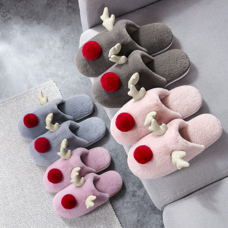 WFL 2019 Womens Shoes Winter New Lovely Antlers Couple House Slippers Women Warm Non-slip At Home Men Flock Cotton Slippers