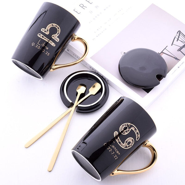 Twelve constellation ceramic mug office personalized coffee cup with lid with spoon gift box set couple cups good gift