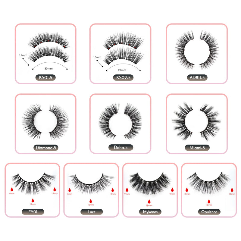 Double Layer Magnetic False Eyelashes & Magnetic Eyeliner 5 Magnets Natural Soft Fake Eyelashes Extension 2 Pairs with Tweezers