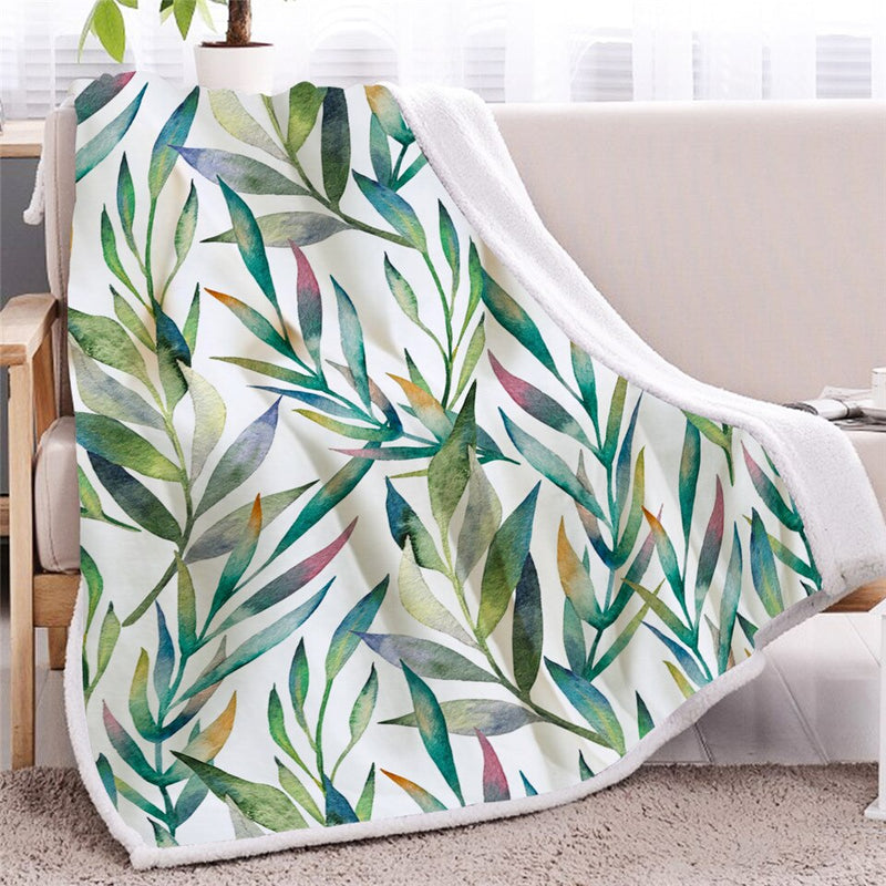 Tropical Leaf Sherpa Blanket