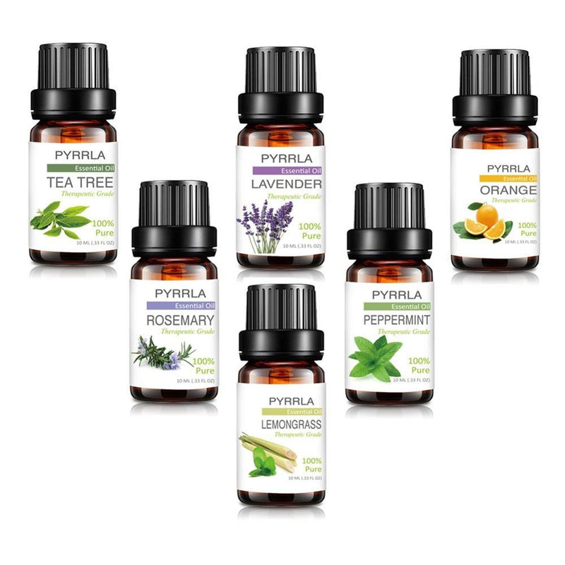 Pyrrla 10ml 6pieces/set with Gift box Pure Essential Oil Humidifier Aromatherapy  Lavender Rosemary Peppermint Orange Plant Oil