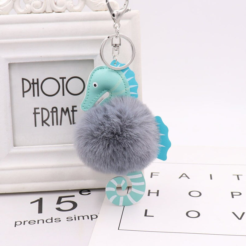 ZG New Fashion Faux Fluffy Puff Ball Lovely Leather Seahorse Pompom Keychain car Key Chain Ring Women handBag Pom pom Jewelry