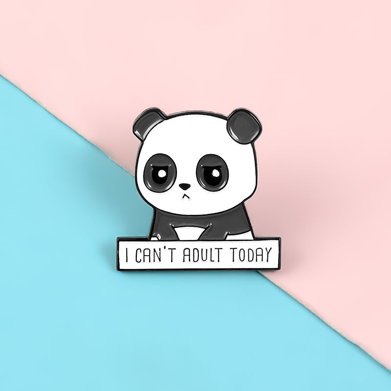 QIHE JEWELRY Panda upset enamel pins Cute friendly animal baby brooches badges Women gifts Clothes bag pins for friends