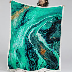 Aqua Splash Sherpa Fleece Blanket