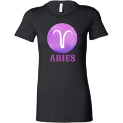 Aries Purple Watercolor Zodiac Tee