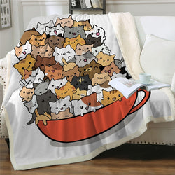 Cat Print Sherpa Fleece Blankets