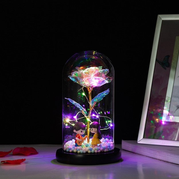 LED Kissing Couple Glass Galaxy Rose