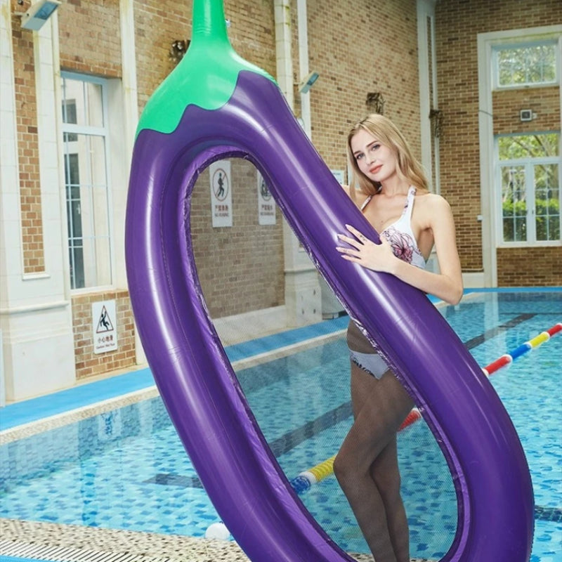Inflatable Eggplant Mesh Float Bed