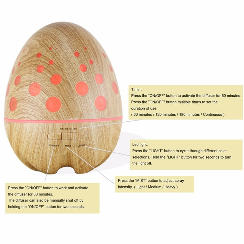 400ML Ultrasonic LED Egg Humidifier