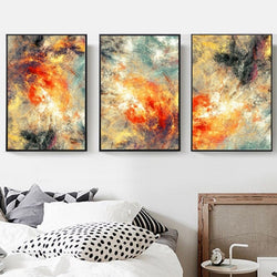 3Pcs Splatter Space Canvas Art Prints - No Borders or Frame