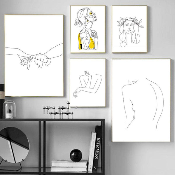 Abstract Women Line Drawing Canvas Art Prints - No Borders or Frame