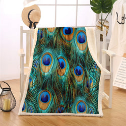 Striking Peacock Feathers Sherpa Throw Blanket
