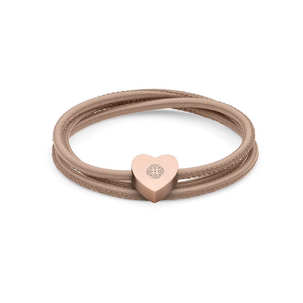 QUDO BRACELET - RIOLA - ROSE GOLD PLATED S/STEEL AND LEATHER