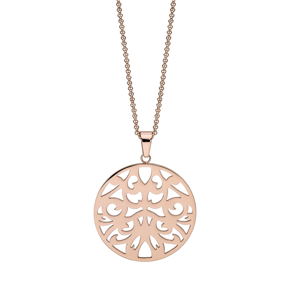 QUDO NECKLACE - CASCIA FLOWER - ROSE GOLD PLATED S/STEEL
