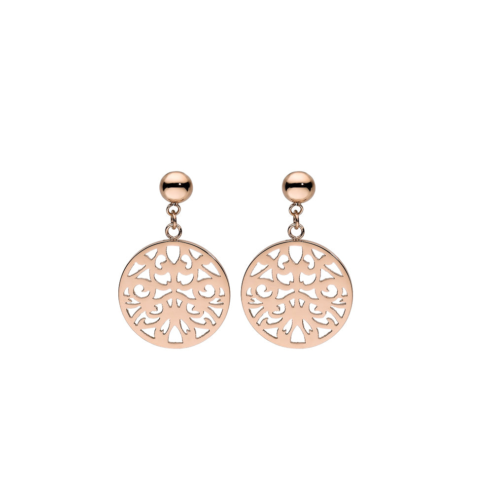 QUDO EARRINGS - CASCIA FLOWER - ROSE GOLD PLATED S/STEEL