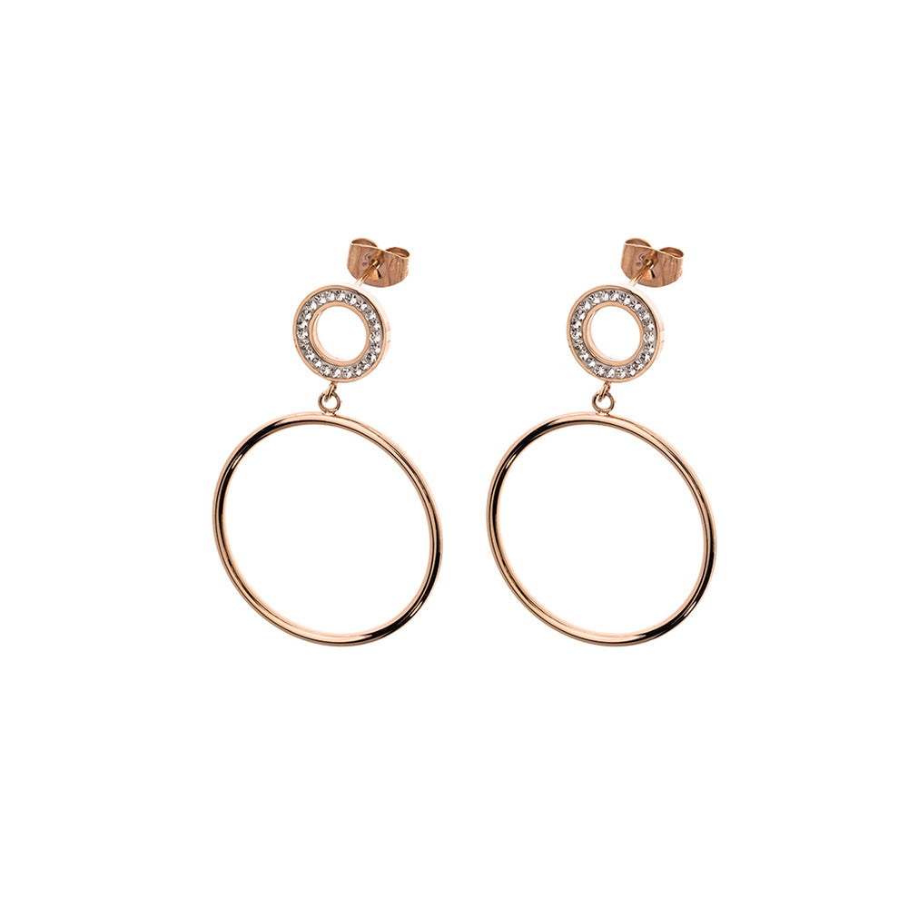 QUDO EARRINGS - BITONTO - ROSE GOLD PLATED S/STEEL