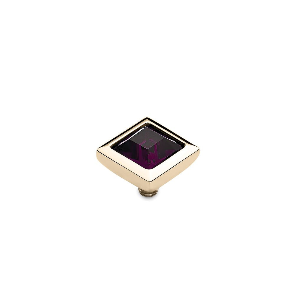 QUDO INTERCHANGEABLE QUADRA TOP 9MM - AMETHYST SWAROVSKI® CRYSTAL - GOLD PLATED