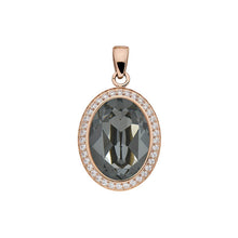 Load image into Gallery viewer, QUDO TIVOLA DELUXE SILVER NIGHT CRYSTAL PENDANT - ROSE GOLD PLATED S/STEEL