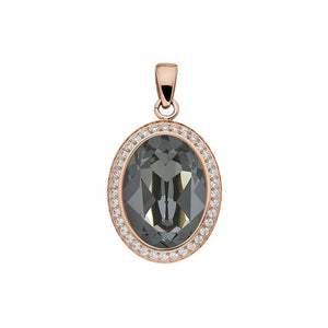 QUDO TIVOLA DELUXE SILVER NIGHT CRYSTAL PENDANT - ROSE GOLD PLATED S/STEEL