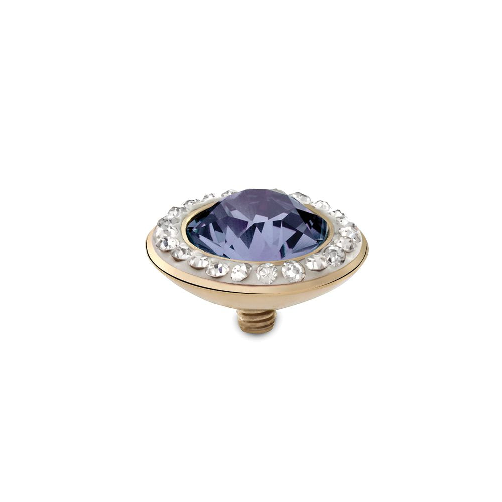 QUDO INTERCHANGEABLE TONDO DELUXE TOP 13MM - PROVENCE LAVENDER SWAROVSKI® CRYSTAL - GOLD PLATED