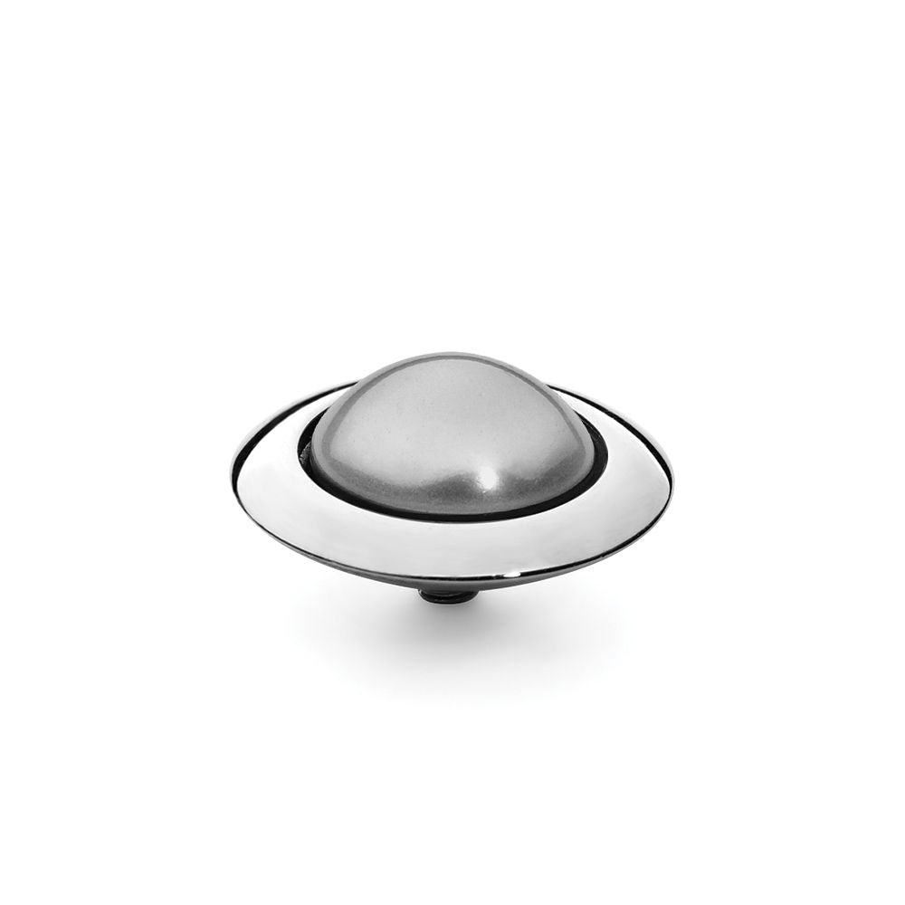 QUDO INTERCHANGEABLE TONDO TOP 16MM - LIGHT GREY SWAROVSKI® PEARL - STAINLESS STEEL