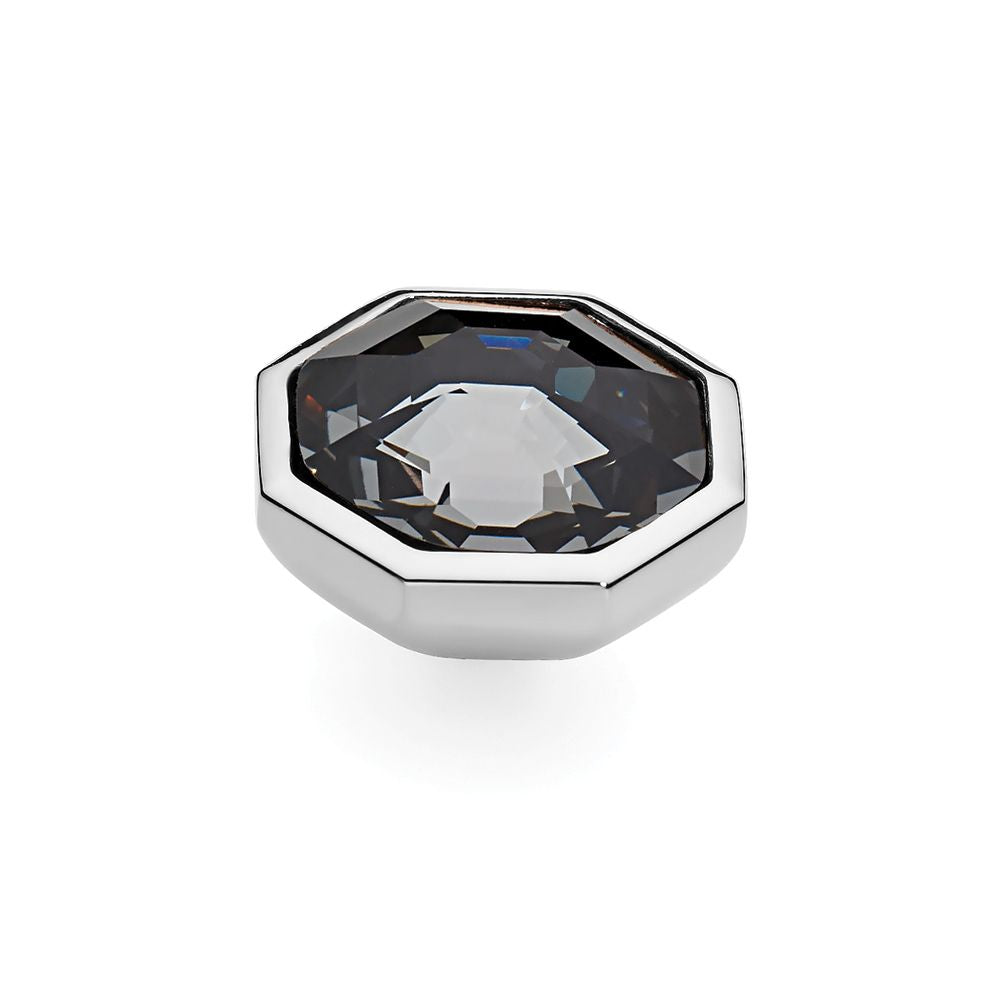 QUDO INTERCHANGEABLE OTTO LARGE TOP 16MM - SILVER NIGHT EUROPEAN CRYSTAL - STAINLESS STEEL