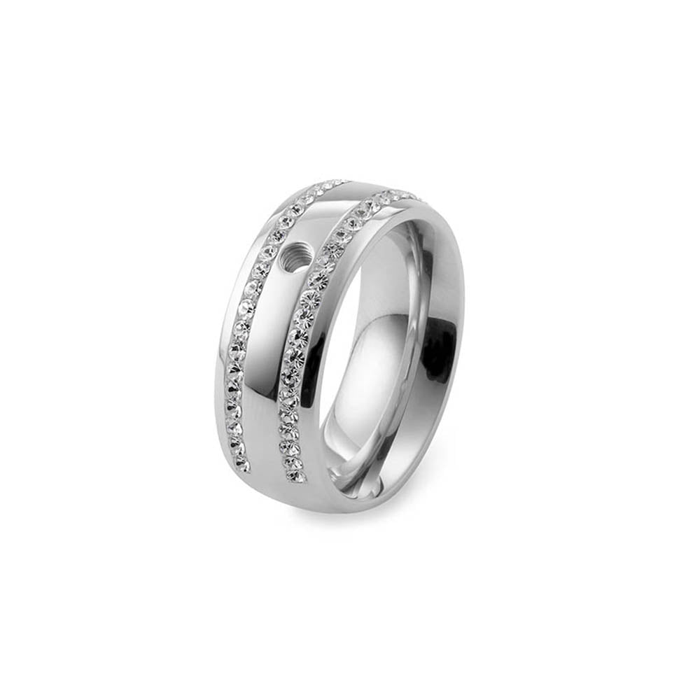 QUDO INTERCHANGEABLE BASE RING LECCE WIDE - STAINLESS STEEL