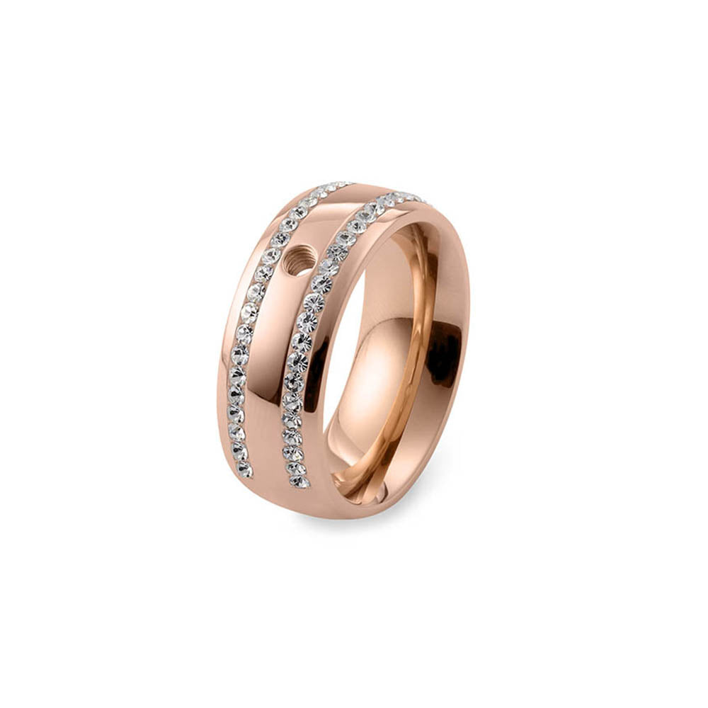 QUDO INTERCHANGEABLE BASE RING LECCE WIDE - ROSE GOLD PLATED