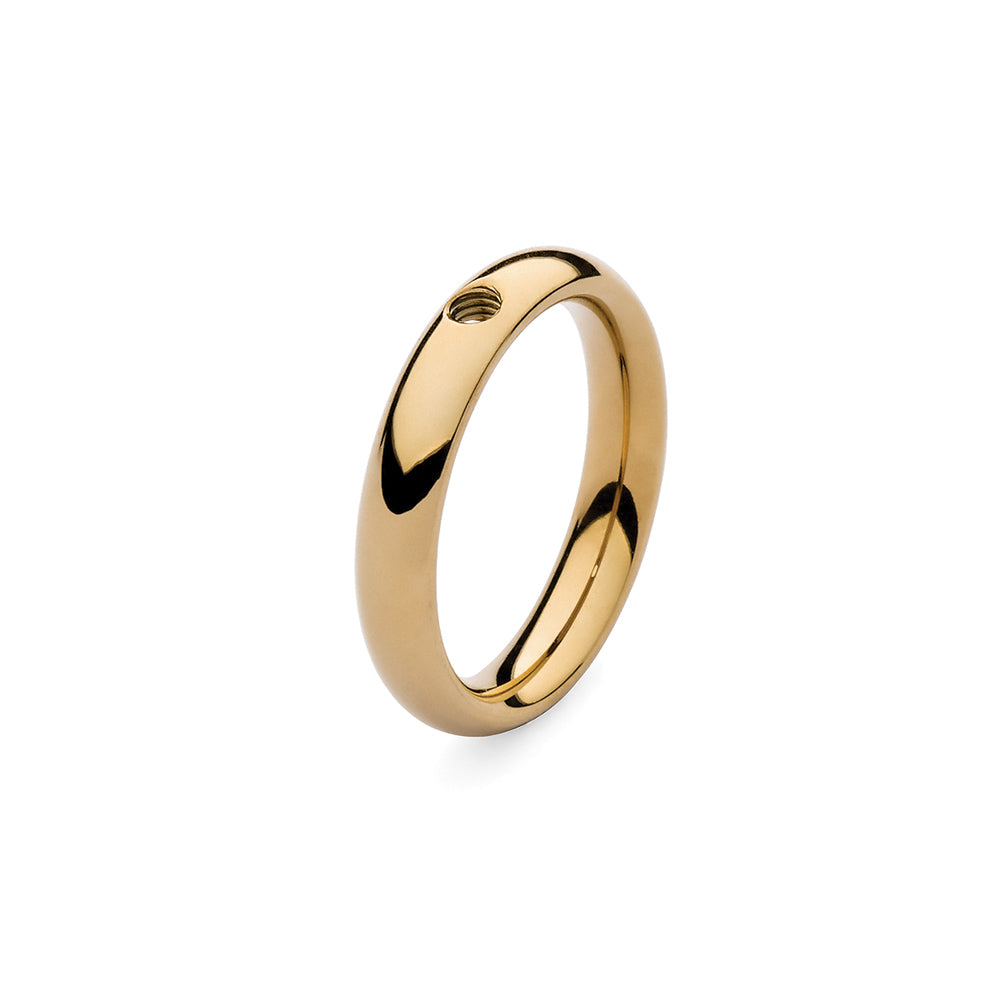 QUDO INTERCHANGEABLE BASE RING NARROW - GOLD PLATED STAINLESS STEEL