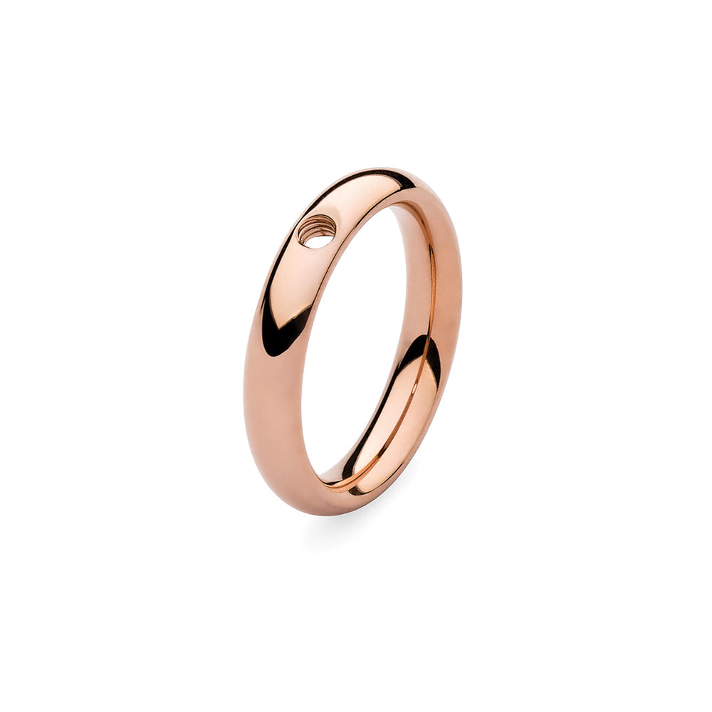 QUDO INTERCHANGEABLE BASE RING NARROW - ROSE GOLD PLATED STAINLESS STEEL