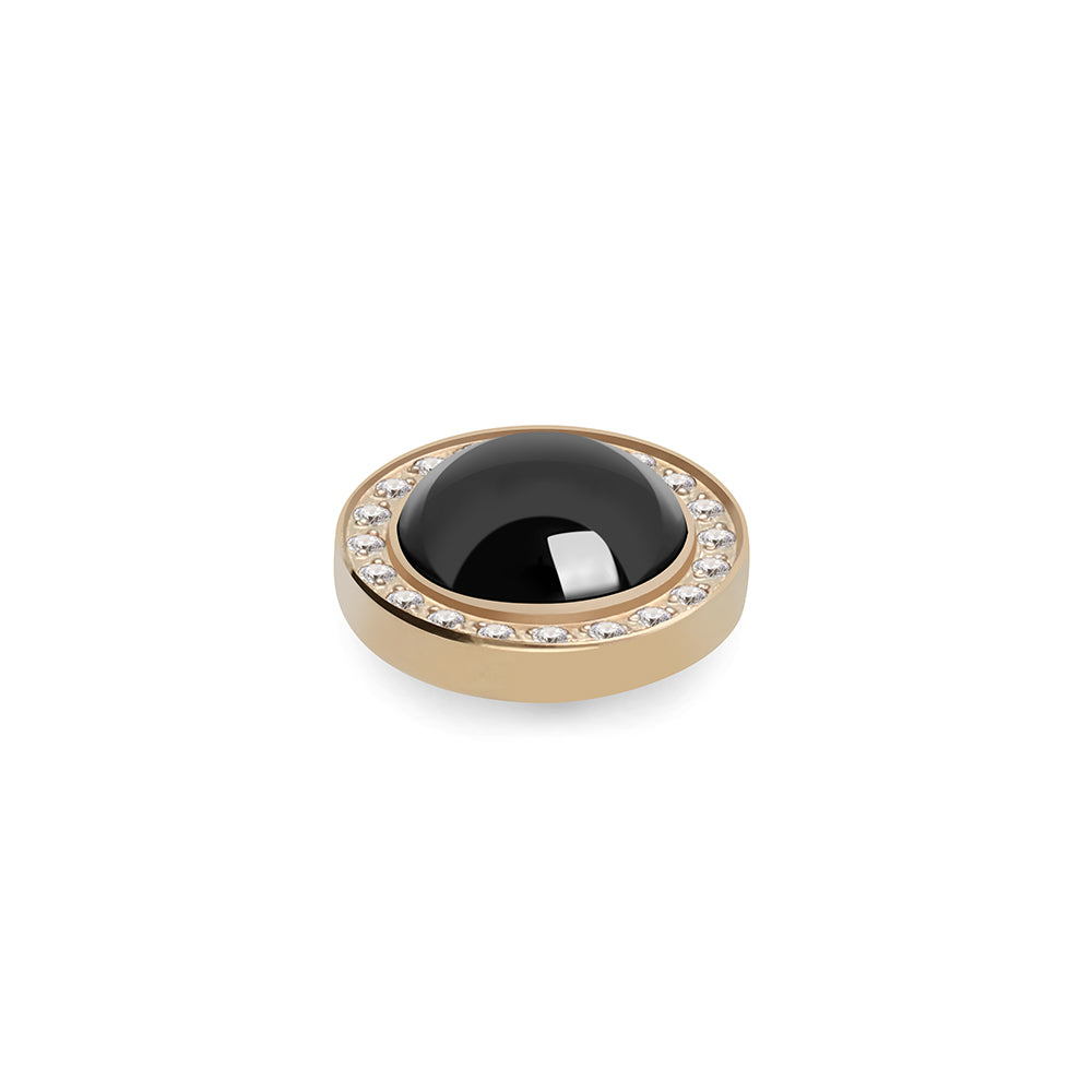 QUDO INTERCHANGEABLE CANINO DELUXE TOP 10.5MM - JET HEMATITE SWAROVSKI® PEARL - GOLD PLATED