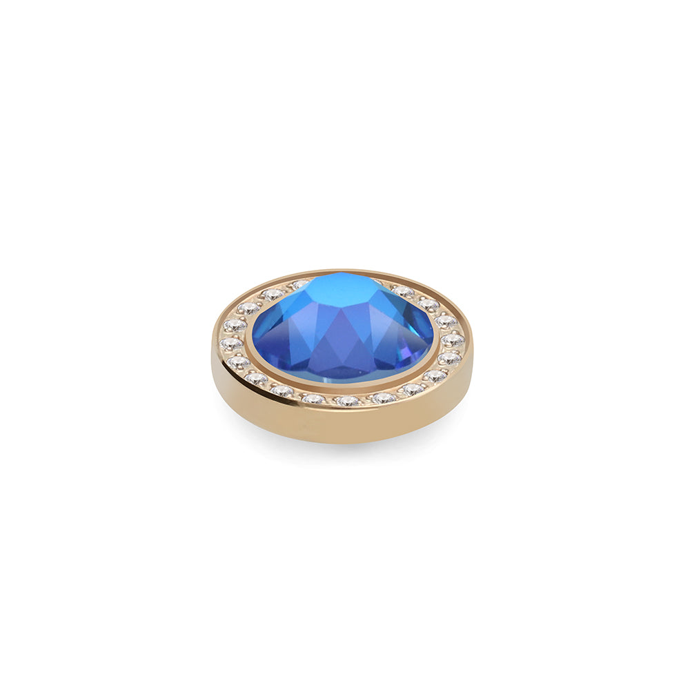 QUDO INTERCHANGEABLE CANINO DELUXE TOP 10.5MM - ROYAL BLUE DELITE EUROPEAN CRYSTAL - GOLD PLATED