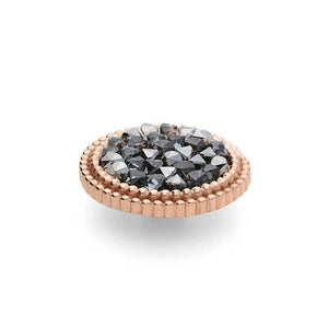 QUDO INTERCHANGEABLE FABERO FLAT LARGE TOP 15MM - METALLIC SILVER CRYSTALS - ROSE GOLD PLATED