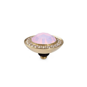 QUDO INTERCHANGEABLE TONDO DELUXE TOP 13MM - ROSE OPAL CRYSTAL - GOLD PLATED