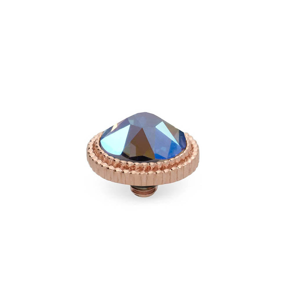 QUDO INTERCHANGEABLE FABERO FLAT TOP 10MM - LIGHT SAPPHIRE SHIMMER CRYSTAL - ROSE GOLD PLATED