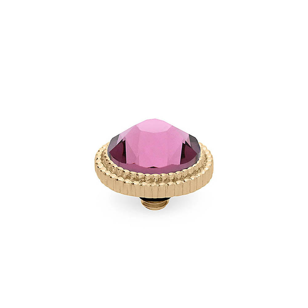 QUDO INTERCHANGEABLE FABERO FLAT TOP 10MM - IRIS PINK CRYSTAL - GOLD PLATED
