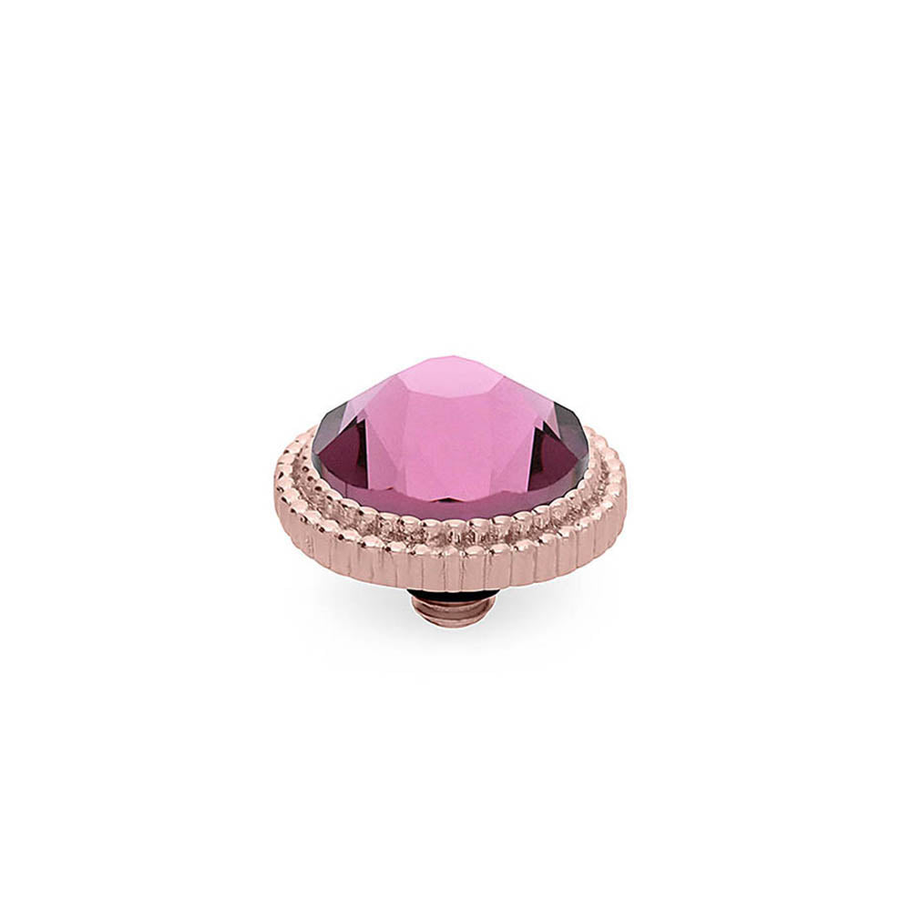 QUDO INTERCHANGEABLE FABERO FLAT TOP 10MM - IRIS PINK CRYSTAL - ROSE GOLD PLATED