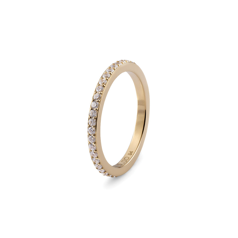 QUDO INTERCHANGEABLE ETERNITY SPACER RING -  GOLD PLATED STAINLESS STEEL