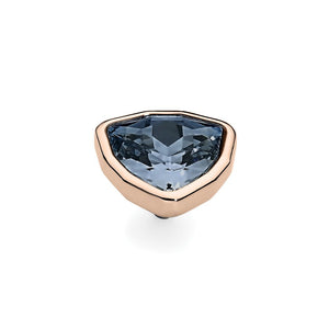QUDO INTERCHANGEABLE TRIA LARGE TOP 14MM - BLUE SHADE SWAROVSKI® CRYSTAL - ROSE GOLD PLATED