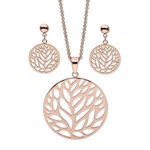 QUDO EARRINGS - CASCIA TREE - ROSE GOLD PLATED S/STEEL