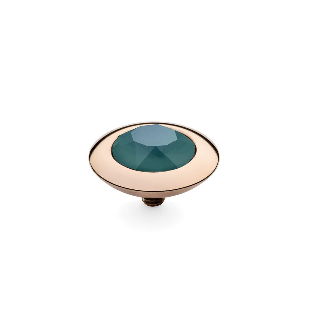QUDO INTERCHANGEABLE TONDO TOP 13MM - ROYAL GREEN EUROPEAN CRYSTAL - ROSE GOLD PLATED