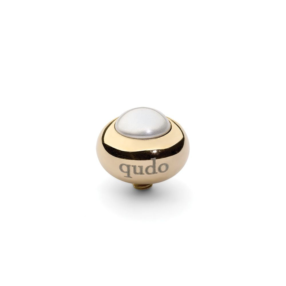 QUDO INTERCHANGEABLE TONDO TOP 10MM - WHITE EUROPEAN CRYSTAL PEARL - GOLD PLATED
