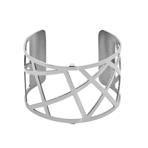 QUDO MY BANGLES - GEOMETRIC WIDE - STAINLESS STEEL