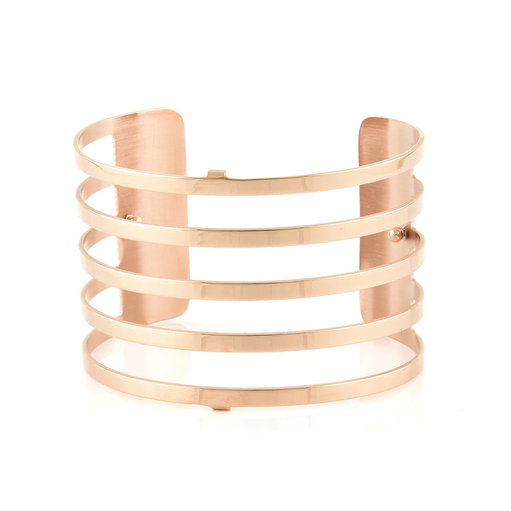 QUDO MY BANGLES - STRIPE WIDE - ROSE GOLD