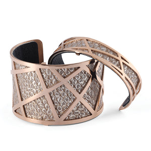 QUDO MY BANGLES - GEOMETRIC WIDE - ROSE GOLD