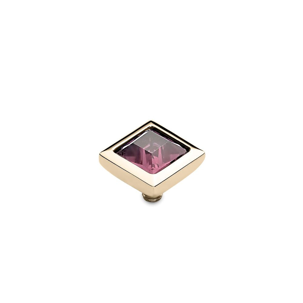 QUDO INTERCHANGEABLE QUADRA TOP 9MM - LIGHT ROSE EUROPEAN CRYSTAL - GOLD PLATED