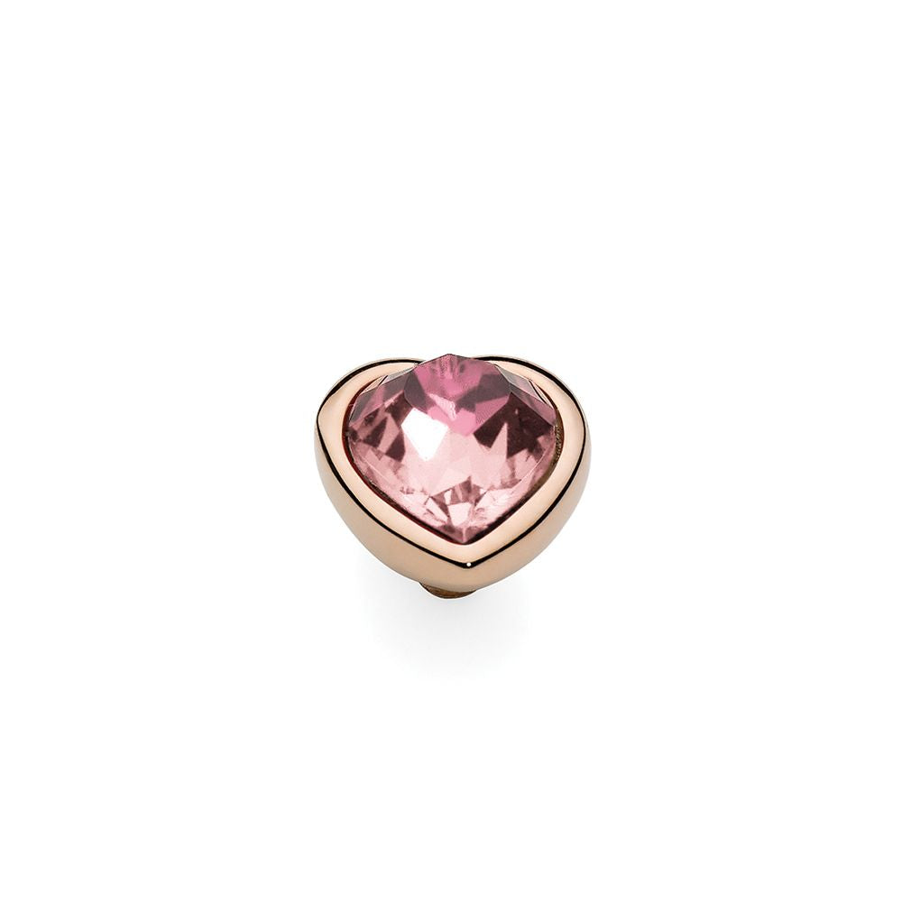 QUDO INTERCHANGEABLE CUORE TOP 9MM - LIGHT ROSE EUROPEAN CRYSTAL - ROSE GOLD PLATED
