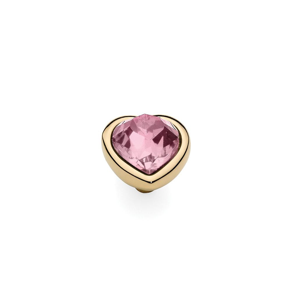 QUDO INTERCHANGEABLE CUORE TOP 9MM - LIGHT ROSE SWAROVSKI® CRYSTAL - GOLD PLATED