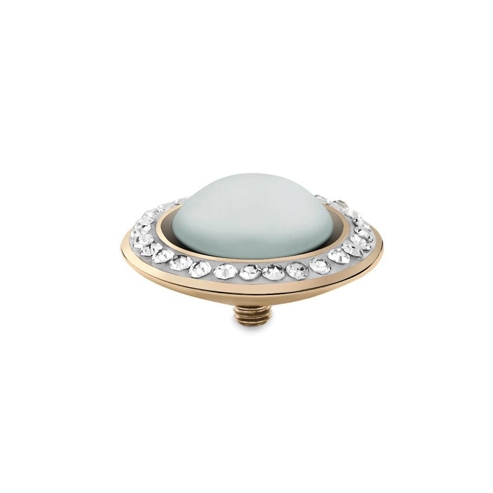 QUDO INTERCHANGEABLE TONDO DELUXE TOP 16MM - PASTEL BLUE EUROPEAN CRYSTAL PEARL - GOLD PLATED